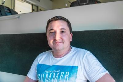 Maxim im Schlafabteil des Zuges von Kiew nach Odessa